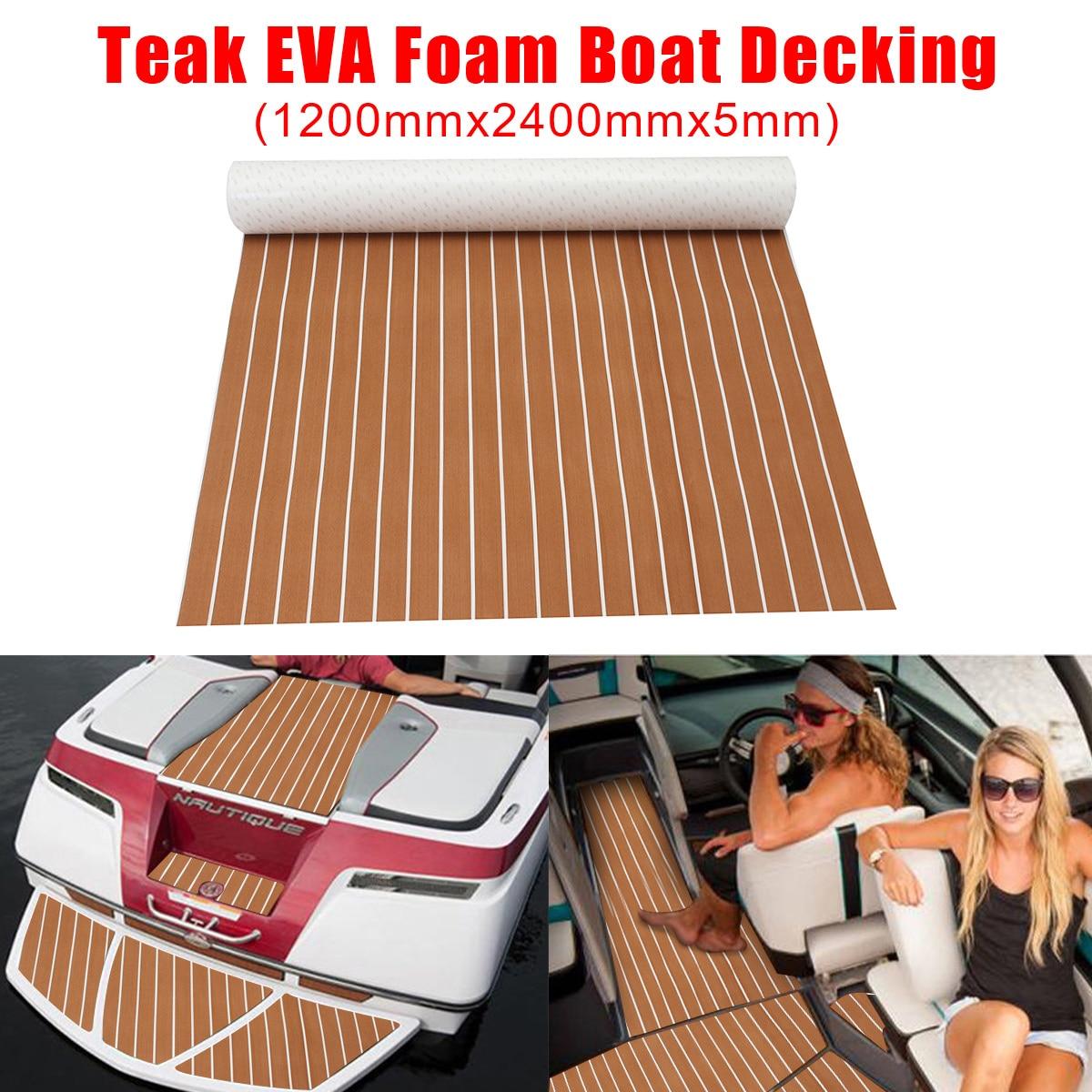 1200x2400x5mm Self Adhesive Teak Flooring EVA Foam Teak Sheet Teak Boat Decking Marine Car Yacht Floor Mat Synthetic Teak Pad