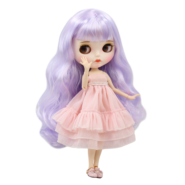 ICY factory blyth doll white skin joint body New matte face dreamy Unicorn Hair Color Curls hair DIY sd gift toy
