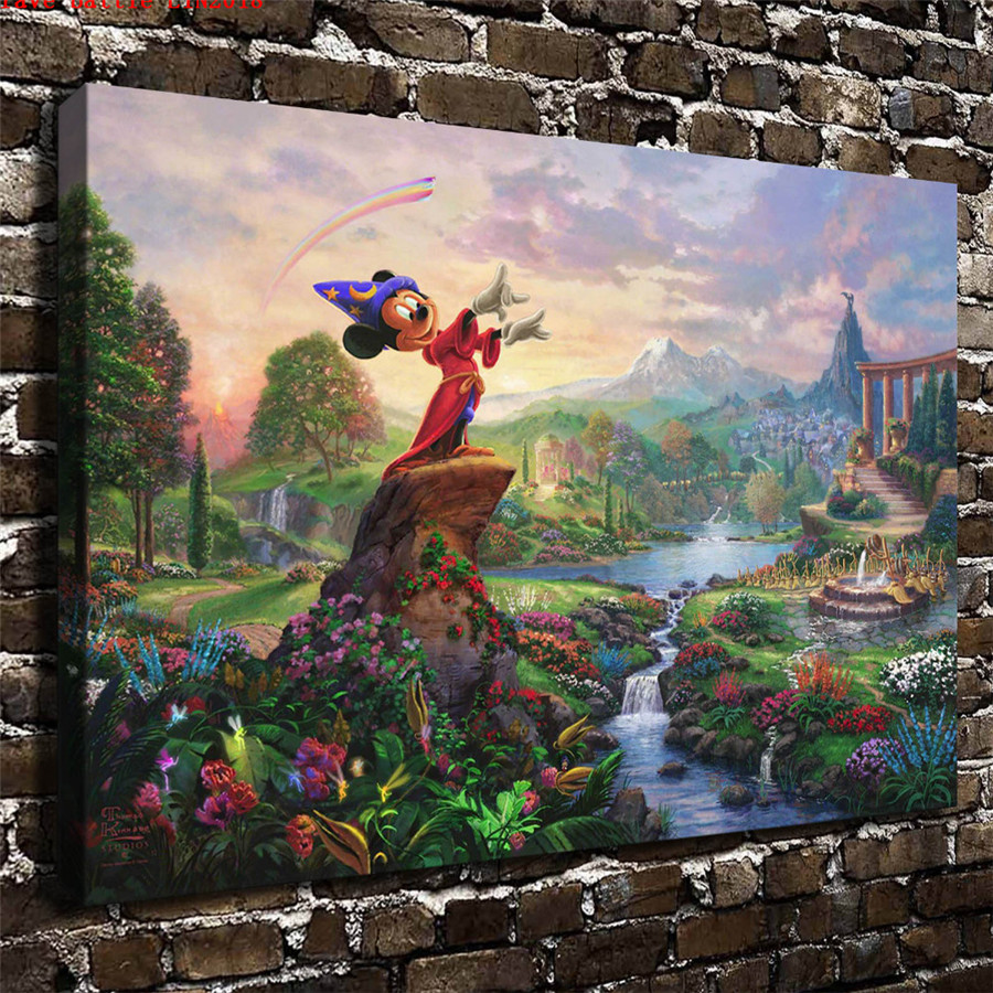 Thomas kinkade fantasia canvas painting print living room - Home interiors thomas kinkade prints ...