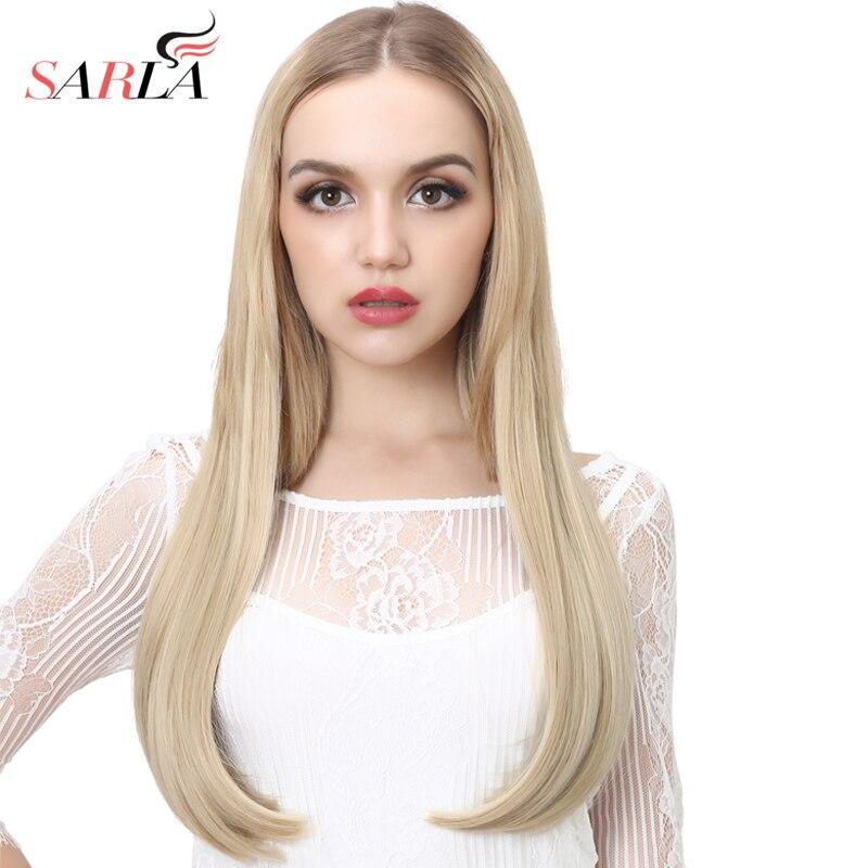 SARLA 24 60cm Long Straight U part Half Wig Synthetic Hair Wigs For Women High Temperature Fiber False Hair Clips Extesion UW03