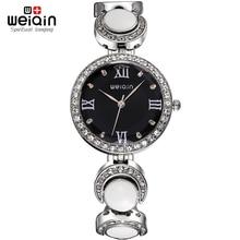 Weiqin reloj de Moda Mujer Estilo de Rose de Oro Blanco Rhinestone Redondo Dial Cuarzo de Las Mujeres Relojes de Pulsera Reloj Relógio Feminino 2702