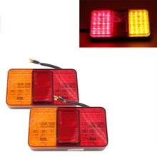 1Pair 40LED Car Rear Tail Lights Red Yellow Stop Turn Signal Lamp for 12V Truck Trailer Caravan Van Lorry