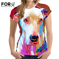 FORUDESIGNS Fashion T Shirt Women Cool Brand Clothes Female Casual Tops Tees Blusa Plus Size 3D Pitbull Cat T-shirt Girls Tops