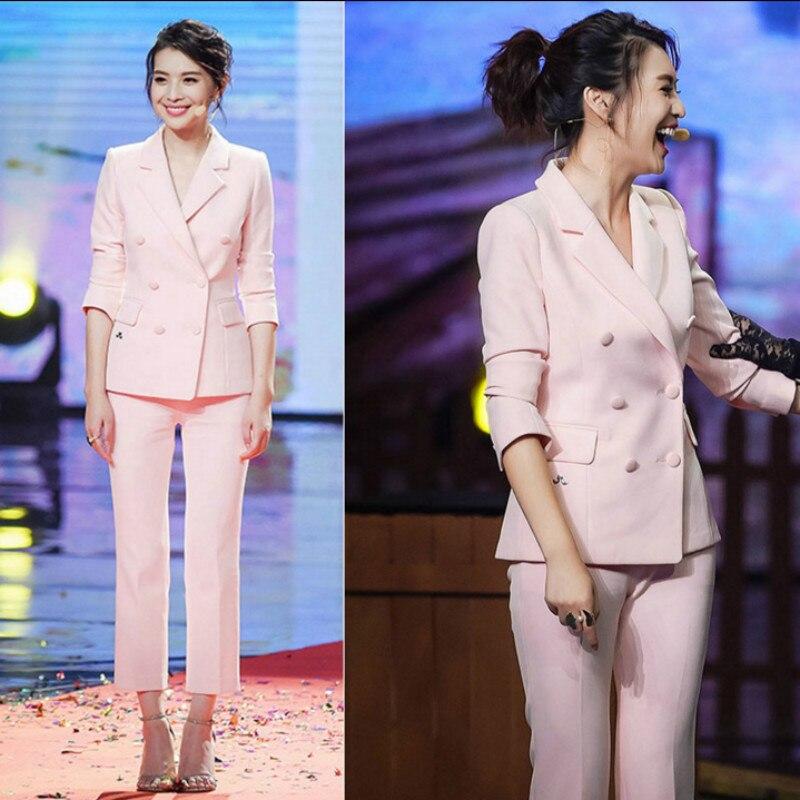 Womn's suit Pink 2 piece set women business suits blazer with pants ladies office uniform formal pant suits for weddings tuxedo