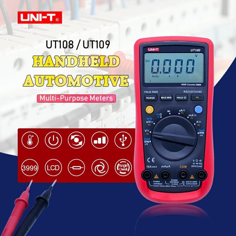 UNI-T UT108 UT109 Voltímetro Digital Auto Profissional tocou Multímetro voltímetro DC Amperímetro Resistência Capacitância Rs232 ACDC