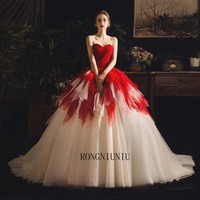 2019 New Plus Size Ball Gowns Puffy Red Ivory Sweet 16 Year Princess Dresses Prom Birthday Party For 15 Years Vestidos Train