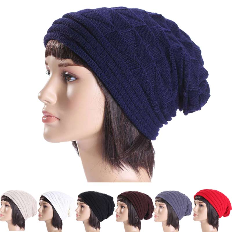 Fashion Autumn Winter Women Knit Crochet Beanie Solid Warm Baggy Hat Oversized  Slouch Cap H9 unisex women warm winter baggy beanie knit crochet oversized hat slouch ski cap
