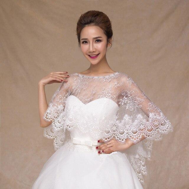 Sheer White Lace Wraps With Beads Women Shawl Bridal Wedding Cape Bolero Jacket