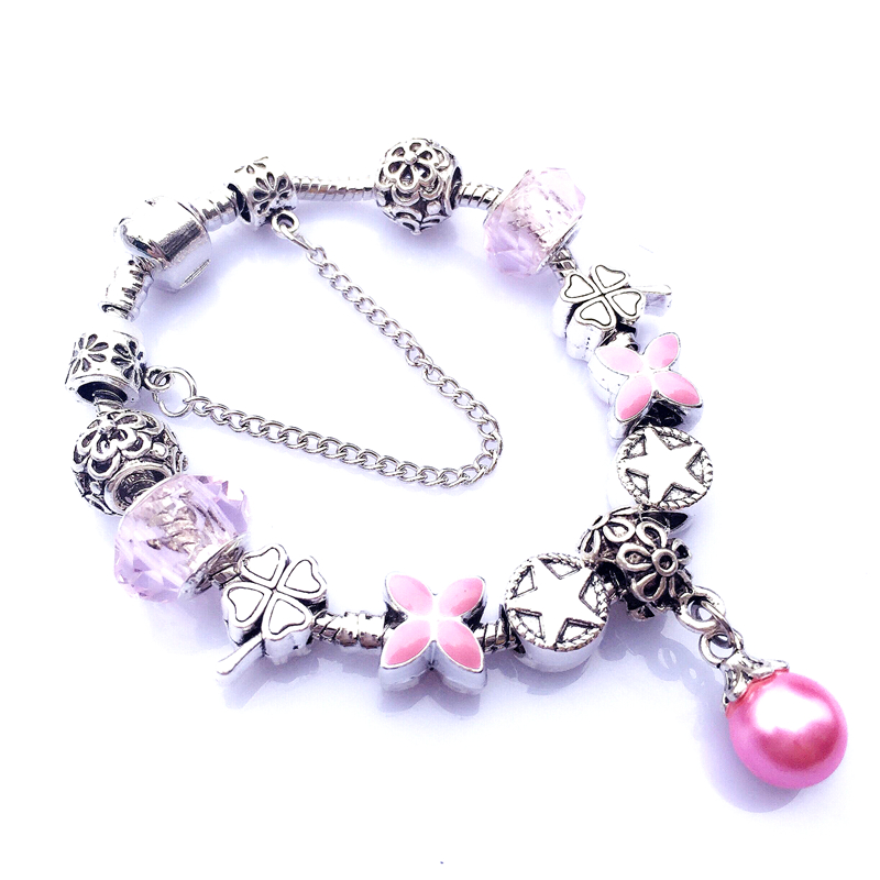 New European Style 925 Sterling Silver Bracelet for Women With Peal Charm Glass Beads Fit Pandora Bracelet DIY Jewelry CH026