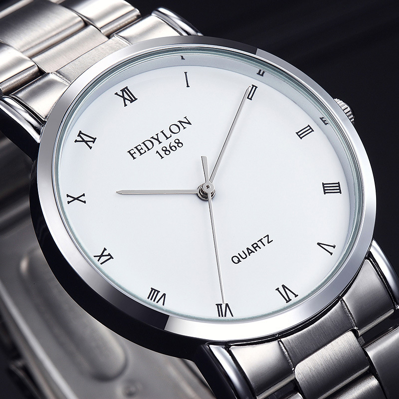 FEDYLON New Fashion Watch Men Elegant Stainless Steel Simple British Style Roman Numeral Dial Casual Business