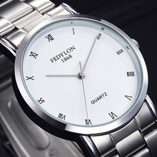FEDYLON New Fashion Watch Men Elegant Stainless Steel Simple British Style Roman Numeral Dial Casual Business Quartz Wristwatch