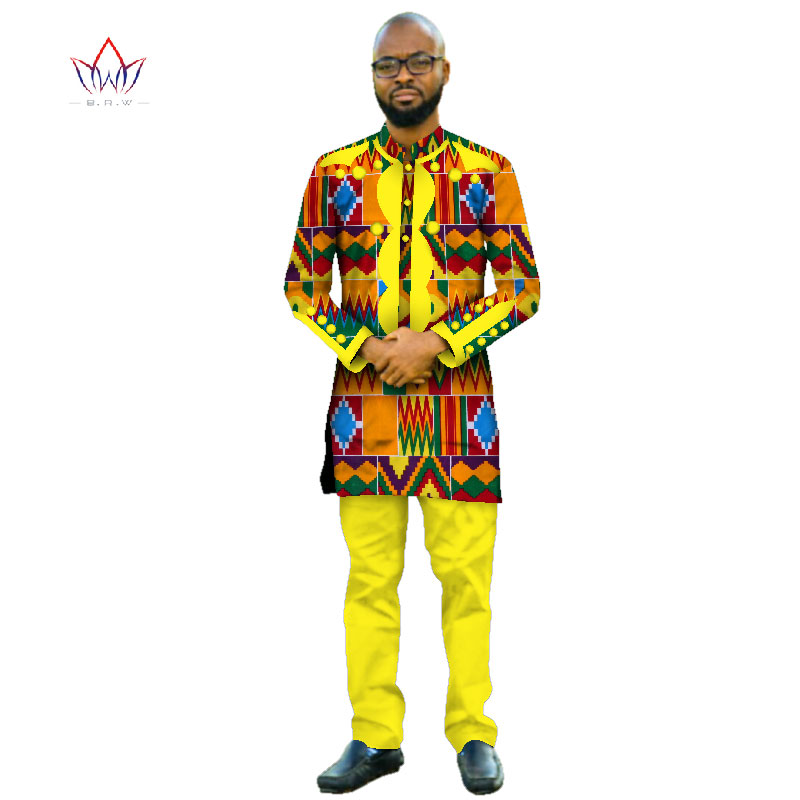 Africa Style 2020 Customized Pants Suits For Men Dashiki Plus Size Denim Men Suit Fashion Traditional African Clothing WYN415
