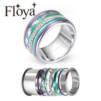 Floya BOHO Rings For Fomen Interchangeable Arctic Symphony Rings India Jewelry Stainless Steel Aluminum Copper Accessories