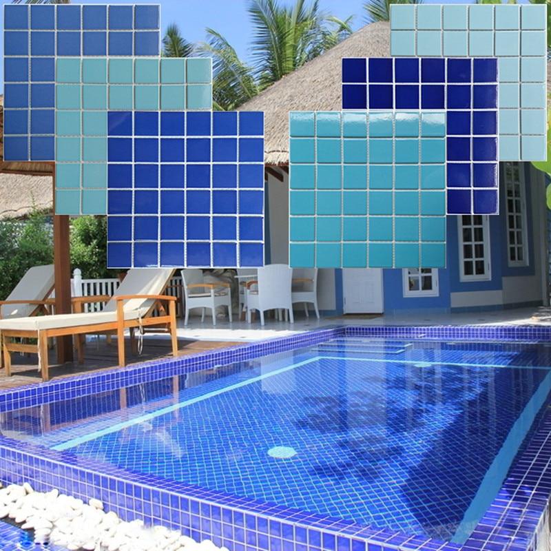 Blue swimming pool ceramic mosaic tile pool fish pond