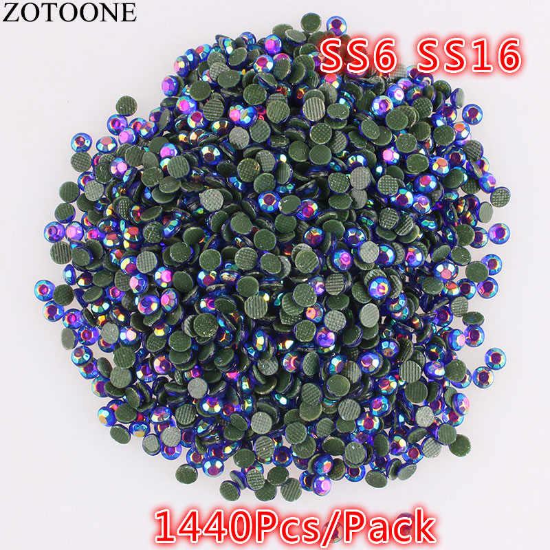 ZOTOONE, 1440 Uds., SS16 Cristal AB, diamantes de imitación de 2mm, adhesivo térmico, para vestido de boda, Strass, Hotfix, DIY, diamantes de imitación de base plana para ropa