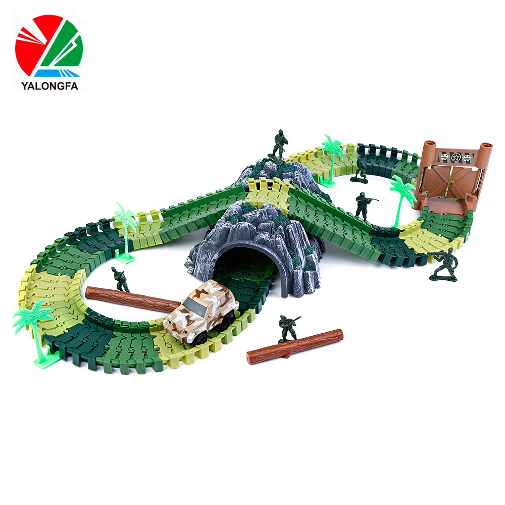 2017 New Hot YALONGFA NO.358 96PCS DIY Racing Track Assembly Flexible Twister Fun Car Toy Christmas Birthday Gifts For Kids