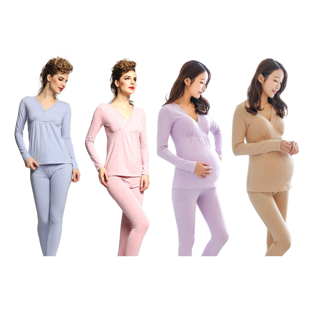 Womens Modal Maternity Pajama Clothing Pregnancy Suit Postpartum Nursing Breastfeeding Leisure Wear Comfortable Pajama