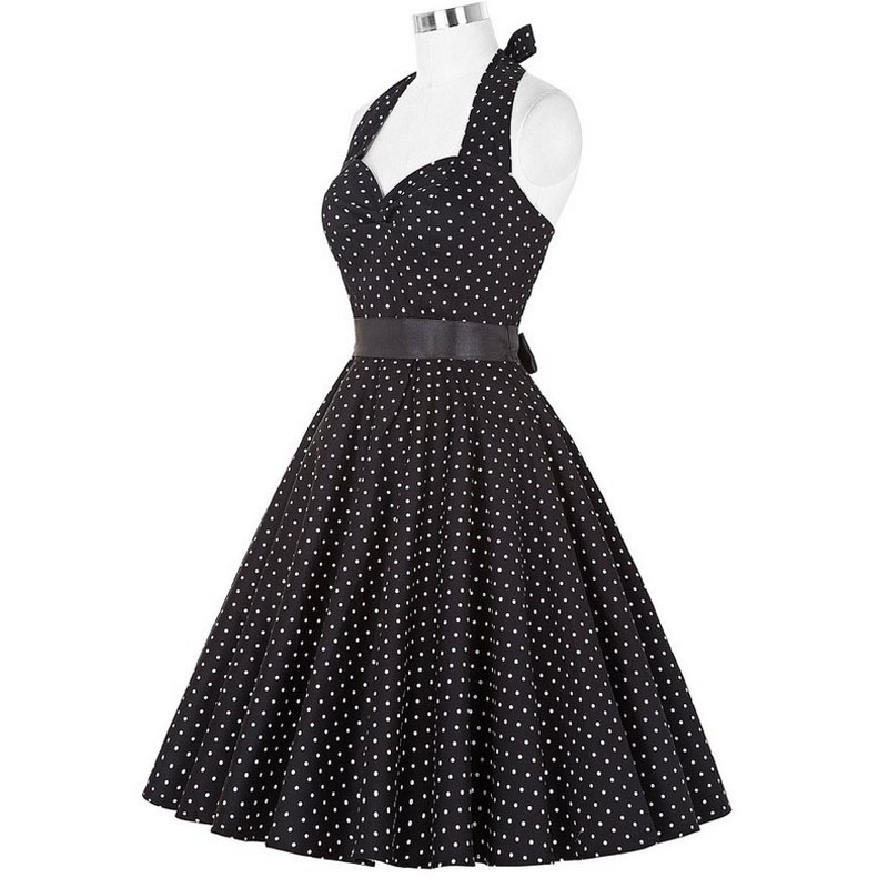 Sexy Retro White Polka Dot Dress Audrey Hepburn Vintage Halter Party Dress 50s 60s Pin Up Rockabilly Dress Plus Size Robe