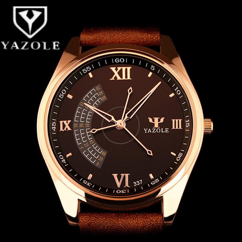 YAZOLE Top Brand Luxury Business Watch Unique Fashion Mens Watches Leather Analog Quartz Clock Saat Erkek Kol Saati