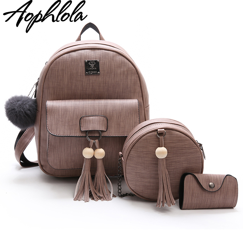 577b8c15c3 Best buy New Design Tassel Women Backpack PU Leather Backpack for Girls  Female School Shoulder Bag Vintage Beading 3 Pcs Set Bagpack online cheap