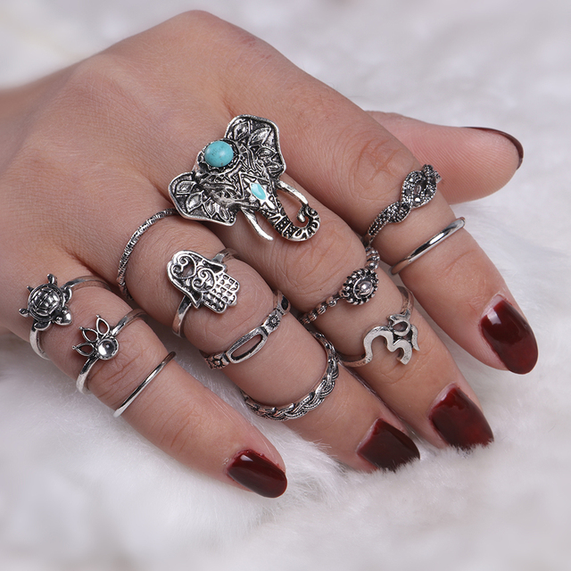 New Vintage Punk Elephant Hand Tortoise Ring Set Women