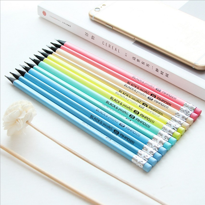AIHAO 12 pcs/case HB/2B Standard Candy Colors Pencils (with eraser), Triangular pen holder, Black wood, Writing or drawing IN02