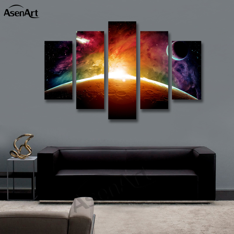 Amazing Outer Space Painting Star Moon 5 Panel Wall Art Canvas ...
