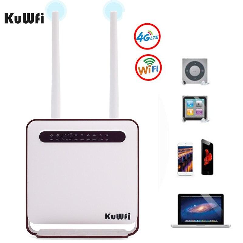 KuWfi 4G WiFi Routeur 300 Mbps Sans Fil Wi-Fi Mobile LTE 3G/4G Débloqué CPE Routeur avec SIM Slot 4LAN Ports Soutien 32 Wifi Utilisateurs