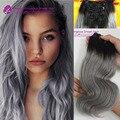 Impresionante! ombre gris clip en extensiones de cabello humano 7 unids 120 g onda del cuerpo del pelo humano clip en extensiones de cabello negro a pelo gris