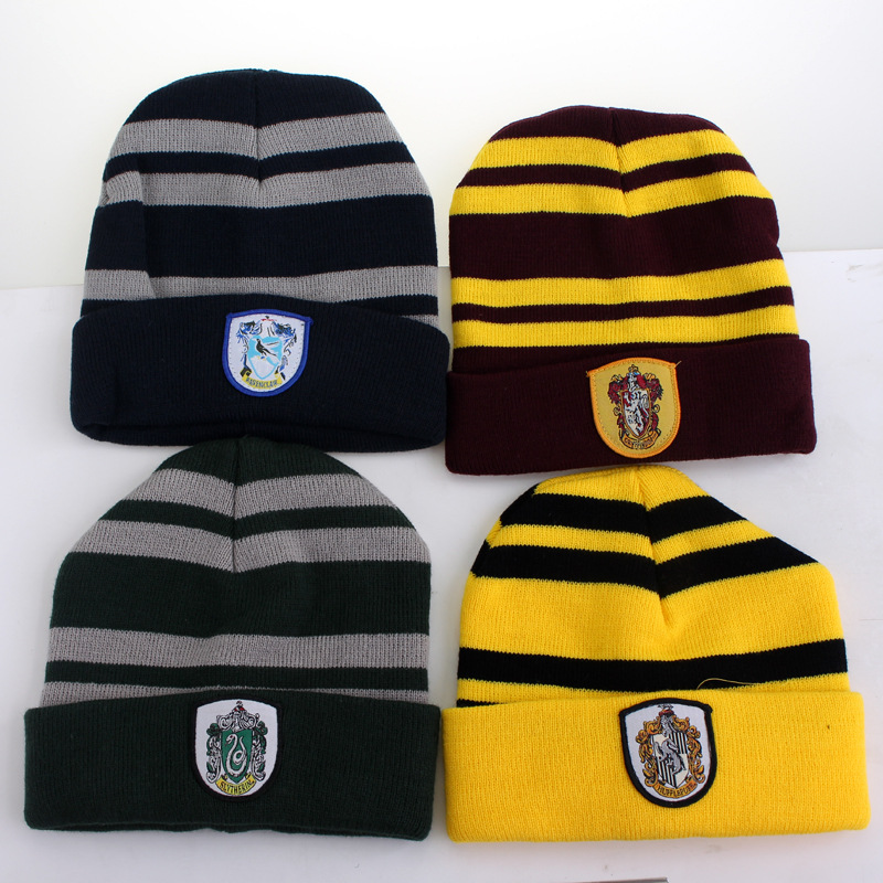 Harri Potter hat Kids Fashion Striped Badge Slytherin Winter Warm Knitted Wool School Children college Ravenclaw cap SQ125 the new children s cubs hat qiu dong with cartoon animals knitting wool cap and pile