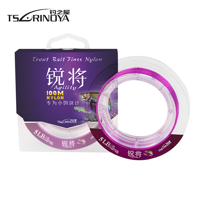 TSURINOYA 100m Nylon Fishing Line Pink/Green 0.8# 1.0# 1.2# 1.5# Linha De Pesca Special Fishing Lines for Small Bait
