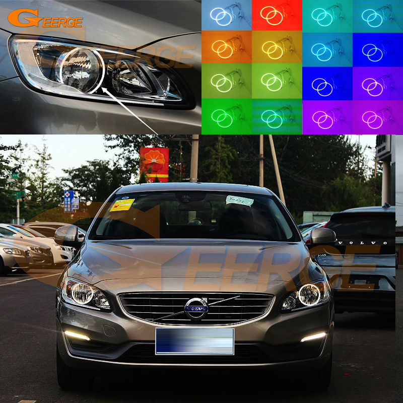 For VOLVO S60 V60 2014 2015 2016 HALOGEN HEADLIGHT Excellent Angel Eyes Multi-Color Ultra bright RGB LED Angel Eyes kit 2pcs purple blue red green led demon eyes for bixenon projector lens hella5 q5 2 5inch and 3 0inch headlight angel devil demon