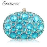 Hot Sale Giant Light Blue Rhinestones Women Evening Bags Metal Minaudiere Designer Wedding Party Crystal Clutch Handbag Purse