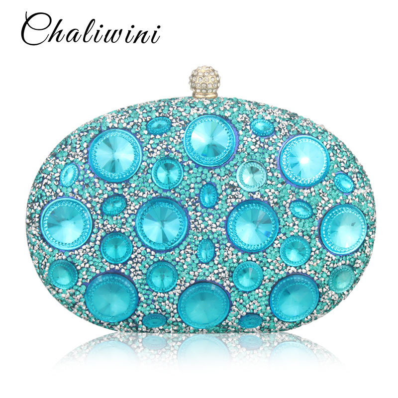 Hot Sale Giant Light Blue Rhinestones Women Evening Bags Metal Minaudiere Designer Wedding Party Crystal Clutch Handbag Purse