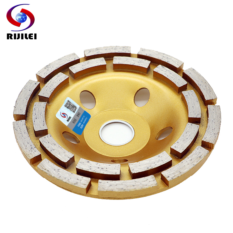 RIJILEI 5inch 125mm Double row Diamond Grinding Wheel Floor Diamond Grinding Cup Wheel Disc for Granite Marble Concrete MX35 free shipping of hot sintering 230mm 22mm 5mm double rows diamond cup grinding wheel for good grinding marble granite concrete