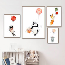 Panda Bear Fox Raccoon Balloon Cartoon Wall Art Canvas Painting Nordic Posters And Prints Pictures Girl Boy Kids Room Decor