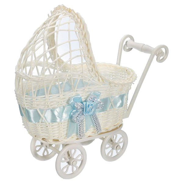 Organizador De Armazenamento De Carrinho De Bebê de vime Dificultar Cesta Vaso de Flor Presentes Do Partido Do Chuveiro Do Bebê Azul