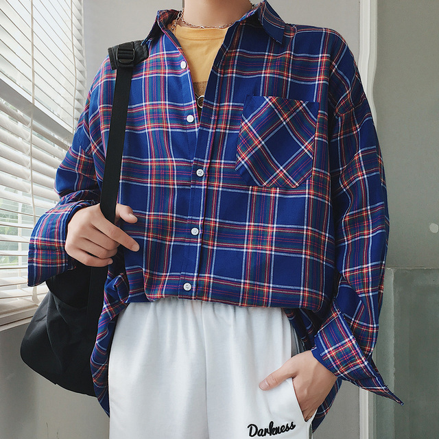 75b17358aa2a 2018 Japan Style Fashion Brand Plaid Printing Coats Youth Pop Casual Long  Sleeves Homme Red green blue Color Shirts Size M-2XL