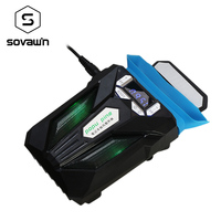 Sovawin Notebook Laptop USB Cooling Fan Silent Cooler Adjustable Speed Temperature Display LED Light For 12