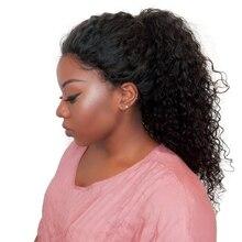 250% плотность вьющиеся Синтетические волосы на кружеве Человеческие волосы Парики для черный Для женщин с ребенком волос предварительно сорвал отбеленные узлы вы можете бразильский Реми