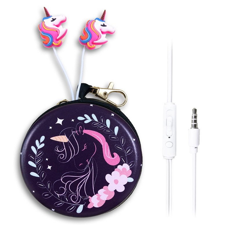Funny Lady Unicorn Wired Earphones Cartoon Stereo Earbuds Headphone Headset With Microphone Daughter Children Kid Birthday Gift