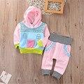 Rosa Bebê Recém-nascido Roupas de Menina Bonito Sorriso Nuvem Bebes Com Capuz Top Calça 2 pcs Roupas Terno Outono Inverno Bebek Giyim conjunto