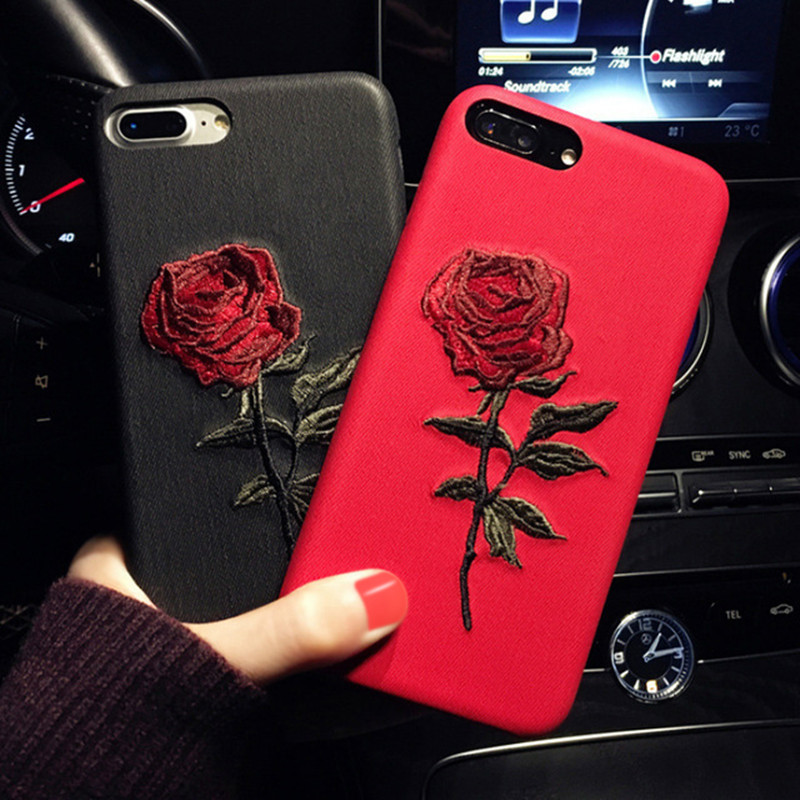 GETIHU Embroidery Rose Case For iPhone X 7 8 6 6S Plus Cover Capa Coque For iPhone 7 6 8 Case 360 Degree For iPhone6 6Plus Cases