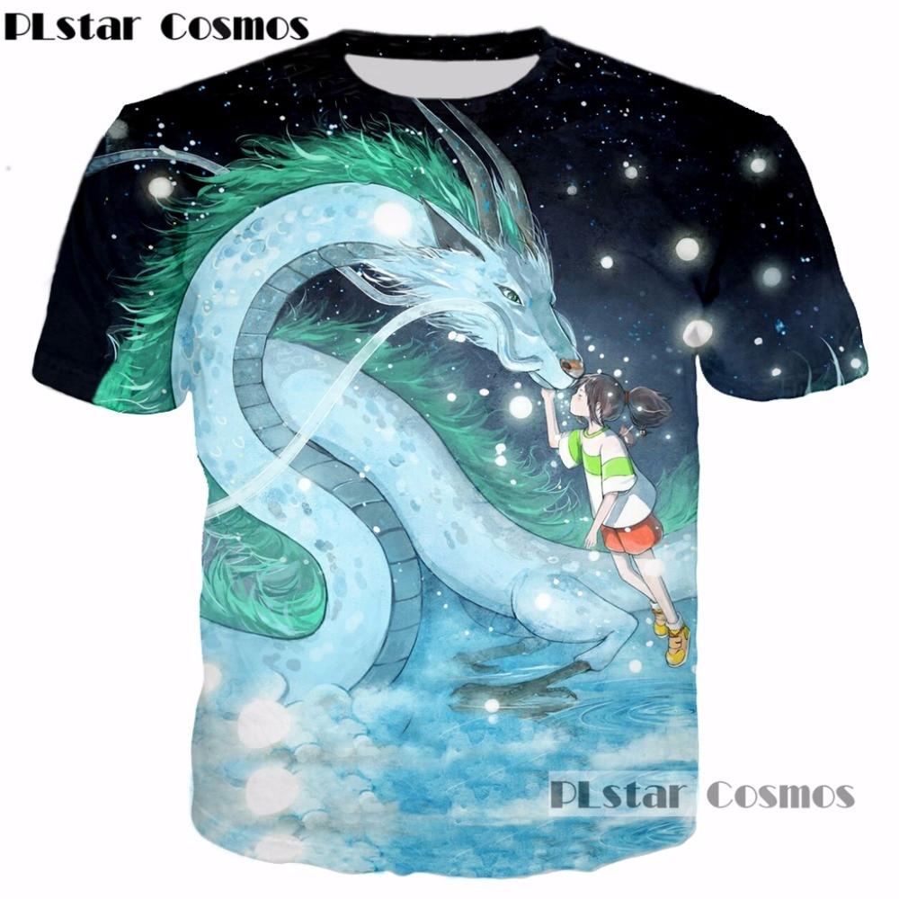 0b5b70fc284b PLstar Cosmos 2017 New design summer 3d t-shirt Anime Spirited Away Dragon    Girl 3D Printed T-shirt Women Men casual t shirt