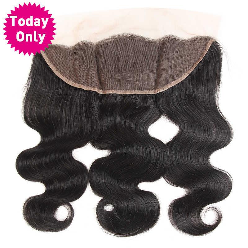 [Сегодня только] бразильский Средства ухода за кожей волна Связки 13x4 уха до уха Синтетический Frontal шнурка волос Синтетическое закрытие волос с ребенком волос Человеческие волосы пучки не Реми естественный
