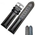 Ручной работы из натуральной кожи Ремешки для наручных часов для мужчин и женщин браслет 18 19 20 21 22 24 мм винтажный ремешок для часов с серебря...