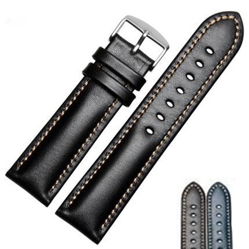Bracelets de montre en cuir véritable faits à la main pour hommes et femmes Bracelet 18 19 20 21 22 24mm Bracelet de montre VINTAGE avec boucle polie en argent