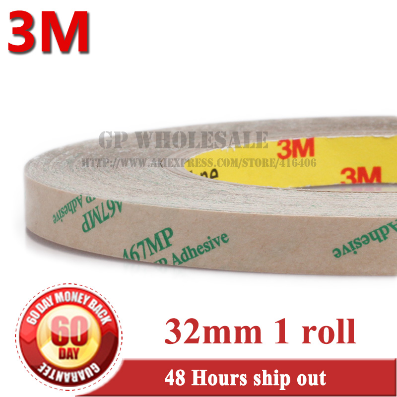 1 Roll 0.06mm Thickness, 32mm*55 meters Ultra Thin 3M 467MP 200MP Double Sided Tape Sticky, for Plastic, Metal, Screen Adhesive стоимость