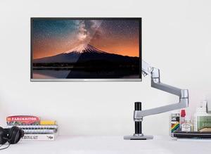Image 3 - Porta monitor lcd de alta qualidade, suporte para monitor de lcd, braço ultrafino de liga de alumínio, suporte de montagem com presilha de mesa, monitoramento de movimento completo