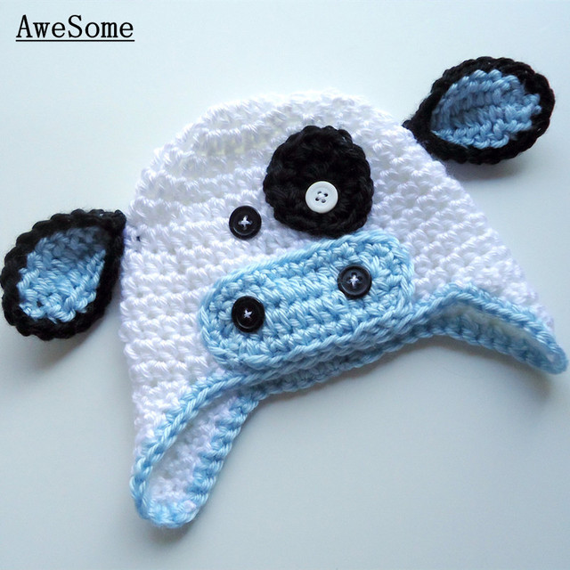 9104a218180 Lovely Light Blue White Cow Hat
